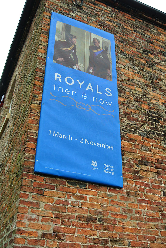 Photograph of banner for Royals: Then and Now banner